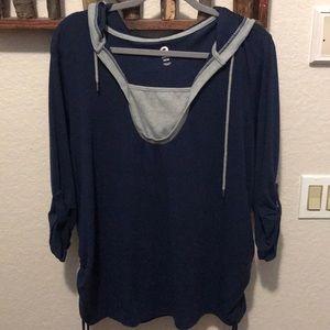 Blue shirt with hood